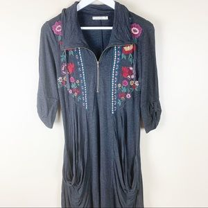 Caite Embroidered Tunic Zip Pockets